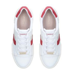 CARVELA | White and Red Lace Up Trainers